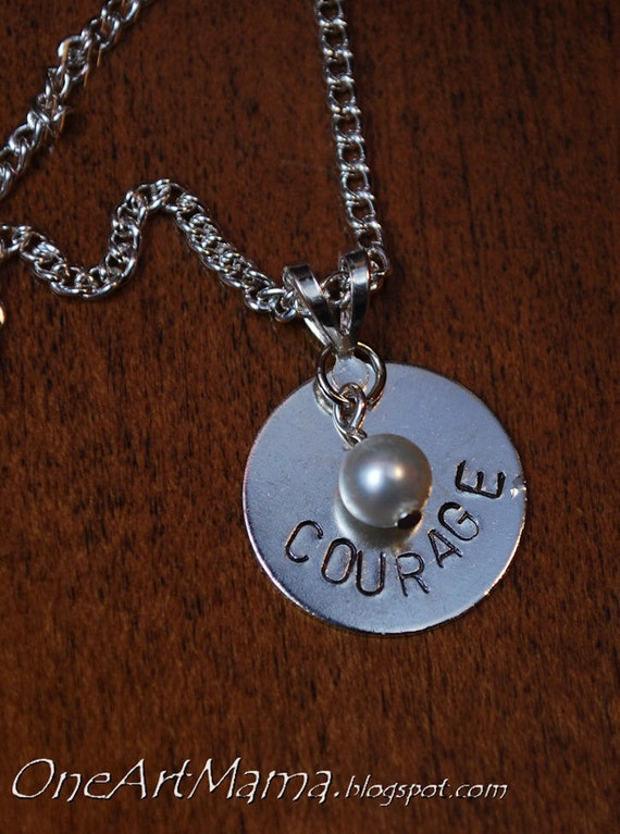 Custom Handstamped Pendant: One Word