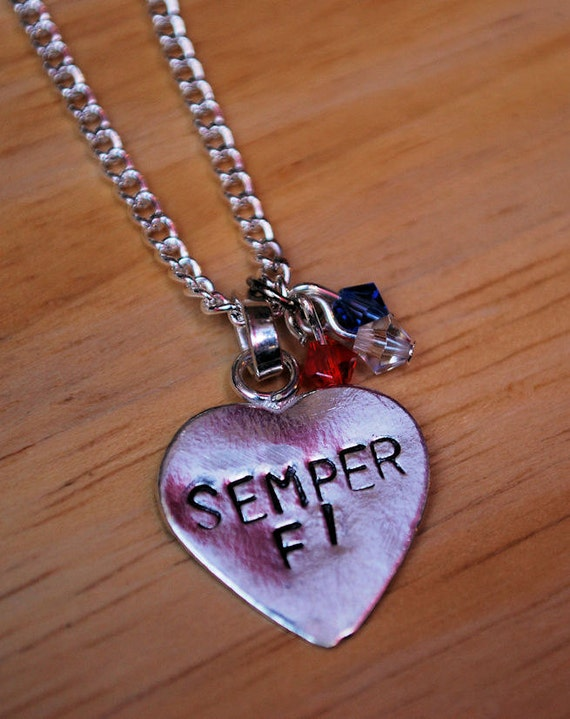 "Handstamped ""Semper Fi"" Necklace"