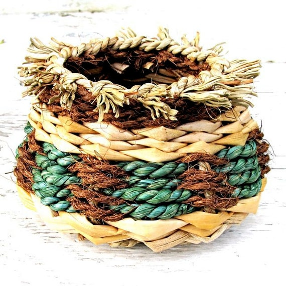 Basket Hand Woven Rustic Hawaiian Green Natural Tan Brown Home Decor OOAK Handmade