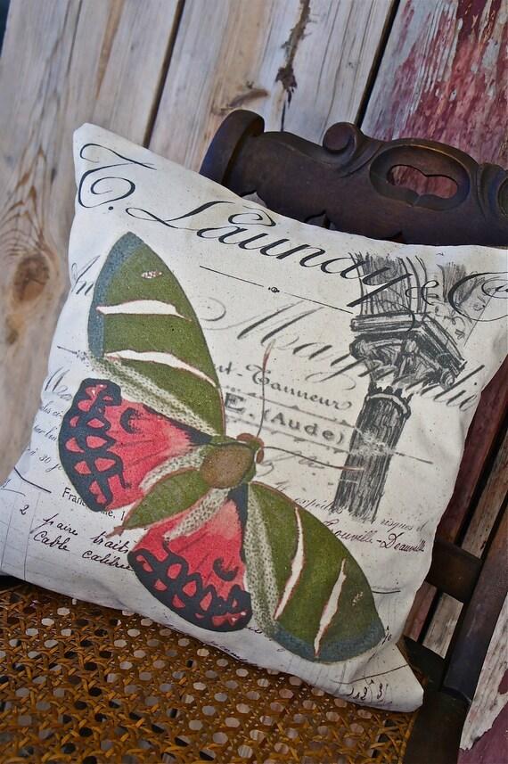 Ручной рукопечатных Чехол - 16x16 - зеленый и розовый Butterfly - Cadence