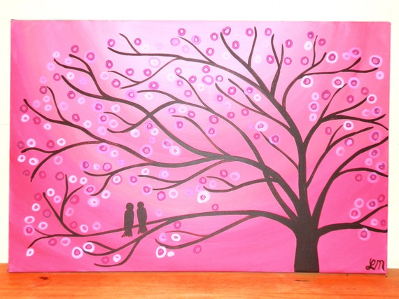 Custom Two Birds in a Tree Painting for Valentine's Day