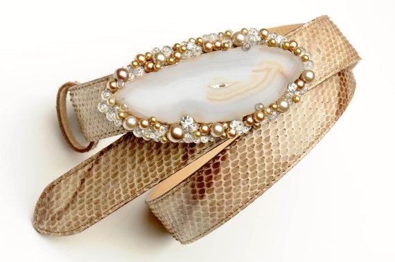 Jeweled belt buckle in agate and pearls with precious python skin belt - Holiday sale - Regular price 350.00 USD reduced to 300.00 USD
