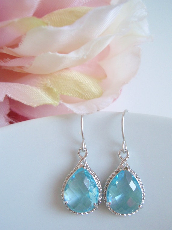 Silver Framed - Aquamarine Gemstone Earrings