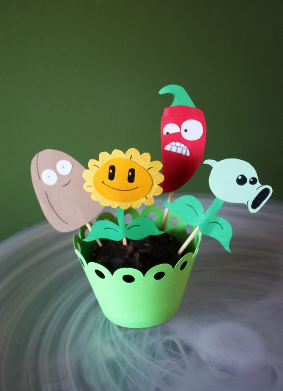 Plants vs zombies cupcakes fifth birthday party