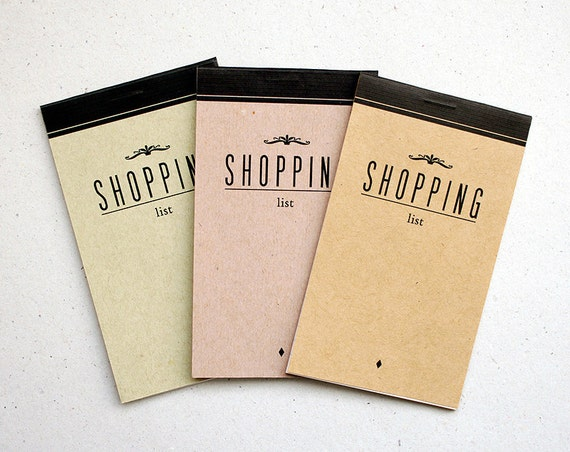 notepad SHOPPING  list - olive green- mini