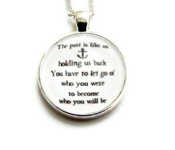 Carrie Bradshaw Nautical Quote Necklace Bright Silver Sex and the City