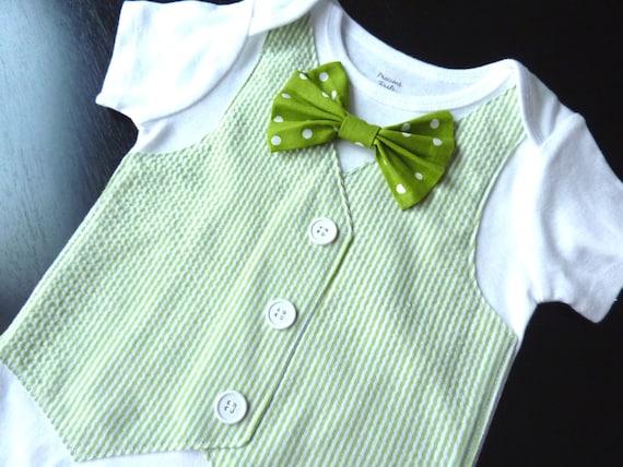 St. Patrick's Day Short Sleeve Green Seersucker Onesie Vest with Removable Polka Dot Bow Tie