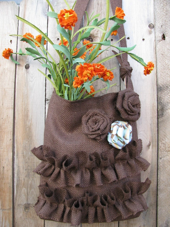 Burlap Tote Bag Brown Ruffled French Market Bag