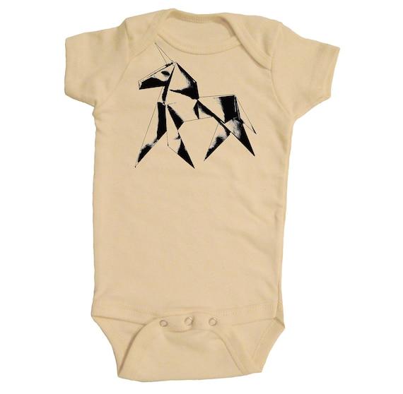 100% Organic Cotton Infant Bodysuit with Original Origami Unicorn Design