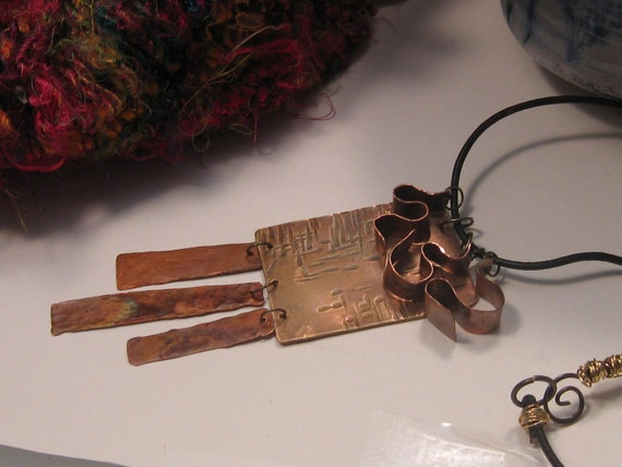 "Handmade Fire Painted Bronze and Copper Pendant, 18"" leather choker, One of a Kind"