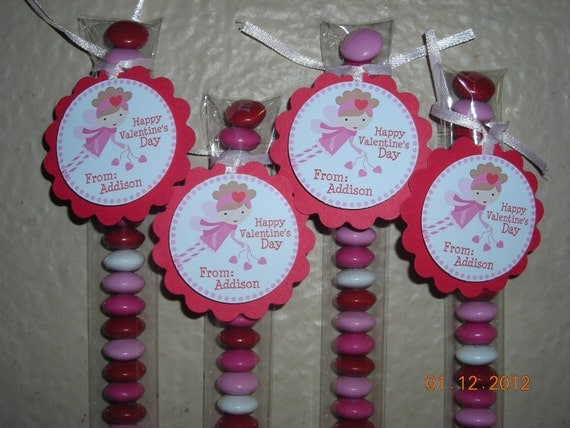 15 Valentines Day Heart Candy Stix Treat Bags Favor Tags Toppers Fairy Girls Pink Red Personalized School Party