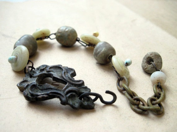 Lunaticus. Antique Keyhole Assemblage Bracelet in Pale Mint Green.