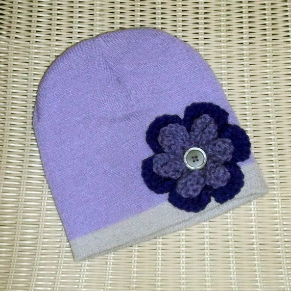 Beanie Purple Crocheted Flower