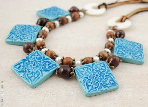 Mountain lake - blue and brown polymer clay necklace