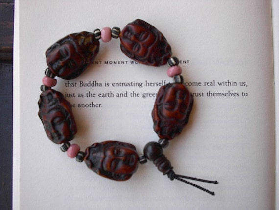Kwan Yin and Trade Bead Stretch Bracelet