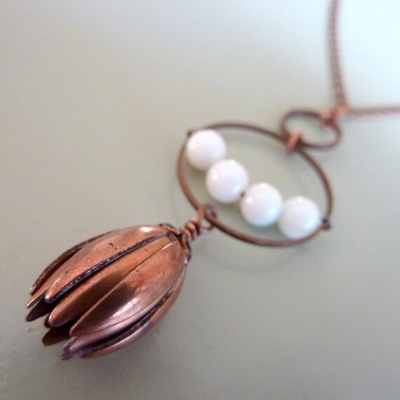 Moon flower earrings - burnt orange and milk glass bead