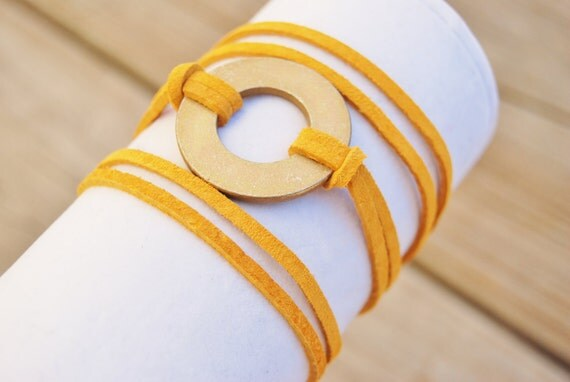 Wrap It Up Mustard Leather Bracelet