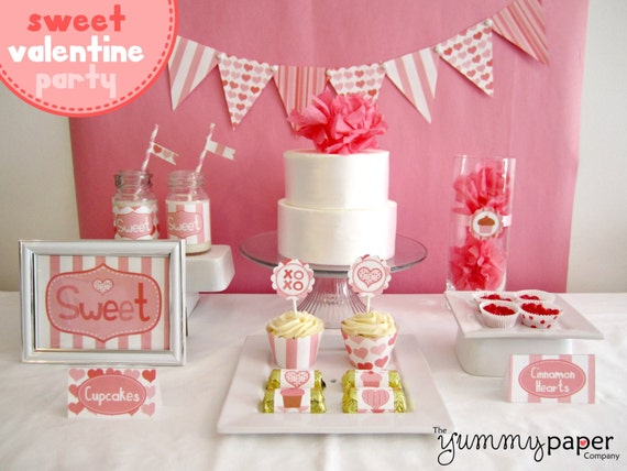 Sweet Valentine Party Pack - Personalized Valentine's Day DIY Party Printables