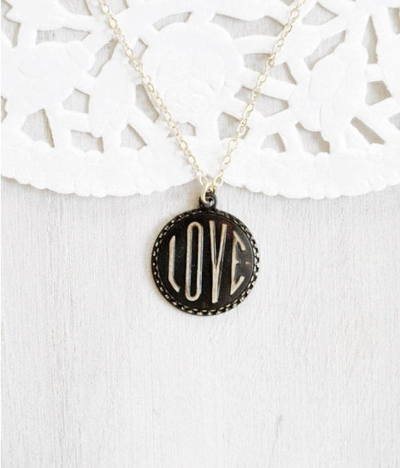 Love Stamped Pendant Necklace - Black and Gold Patina Charm