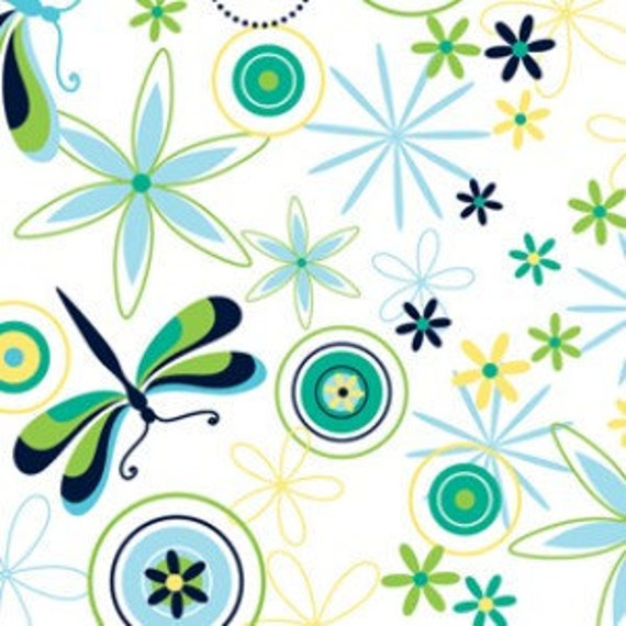 Green and Blue Dragonfly Fabric, Modern Blossom from Blue Hill Fabrics, Dragonfly Floral Print in Blue, 1 Yard