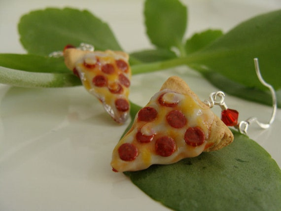 Pepperoni Pizza Slice Earrings - Miniature Food Polymer Clay Jewelry