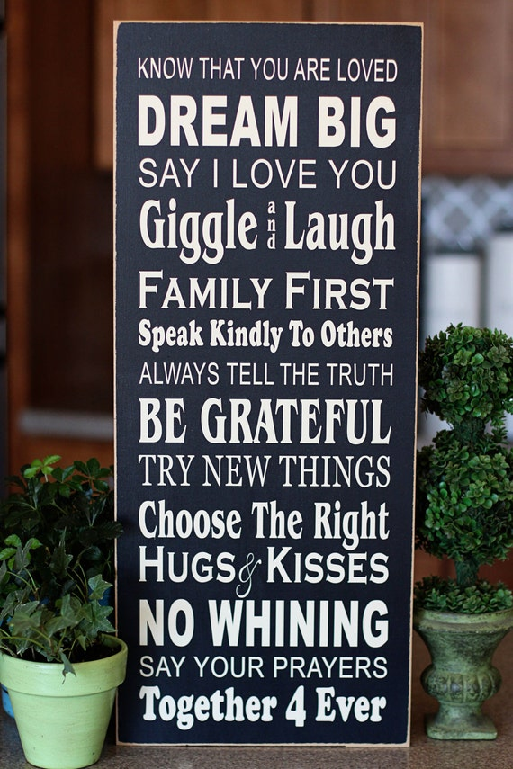 Dream Big Family Rules Subway Art - wooden sign