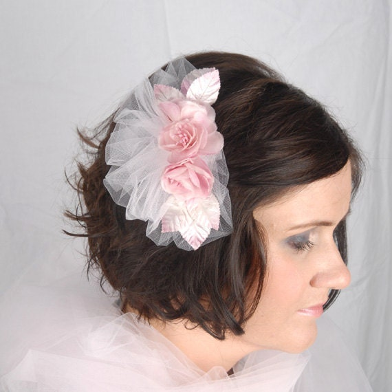 Pink vintage shabby chic hair accessory Bridal wedding headpiece