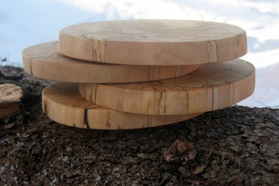 Natural Wood Coasters - Alaska Spalted Birch - Set of 4