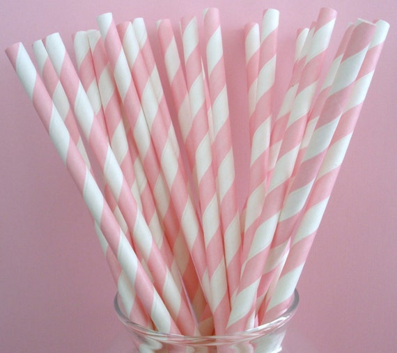 "30 Pink Stripe Paper Straws with ""Free"" Blank Printable Pennants"