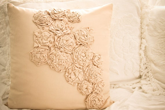 18x18 in Champagne cotton pillow with handmade applique flowers