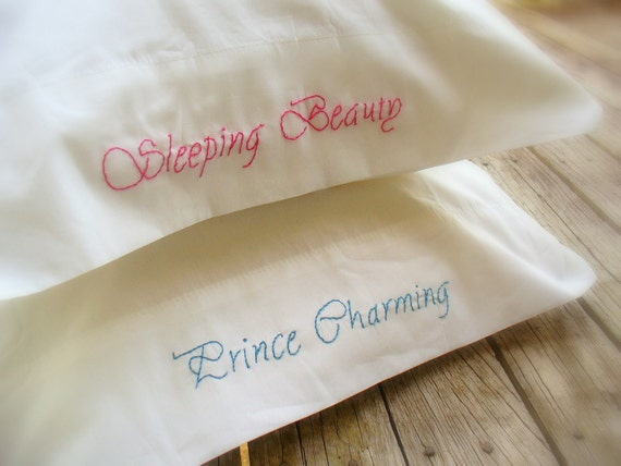 Embroidered PillowCases Sleeping Beauty and Prince Charming  King