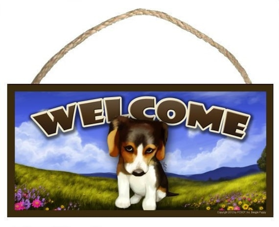 "The Pouty Beagle Spring Season 10"" x 5"" Wooden Welcome Sign"