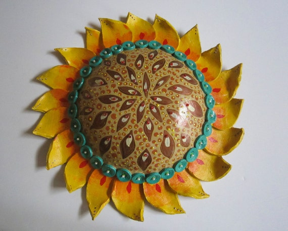 Clay Pottery Sun Sunflower Wall Hanging Home Decor Slab Formed - Clay Lick Creek Pottery