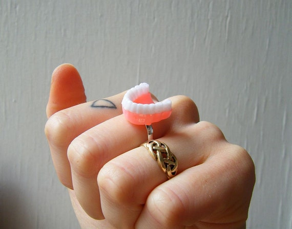 Adjustable Ring - Vintage 60's Denture Charm Repurposed - Teeth and Gums - Kitsch