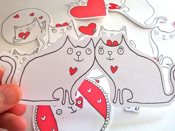 Cat heart valentine stickers