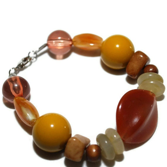 Earthtones in Brown Mustard and Orange Beaded Bracelet-ETSY TREASURY OOAK