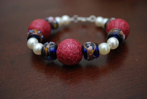 Pink Pearl and Blue Glass Beaded Bracelet-ETSY TREASURY OOAK