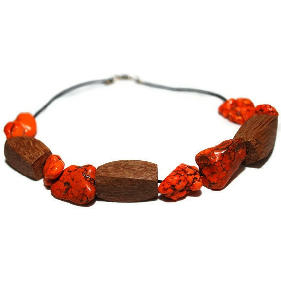 Orange Bohemian Choker  Necklace - ooak clearance