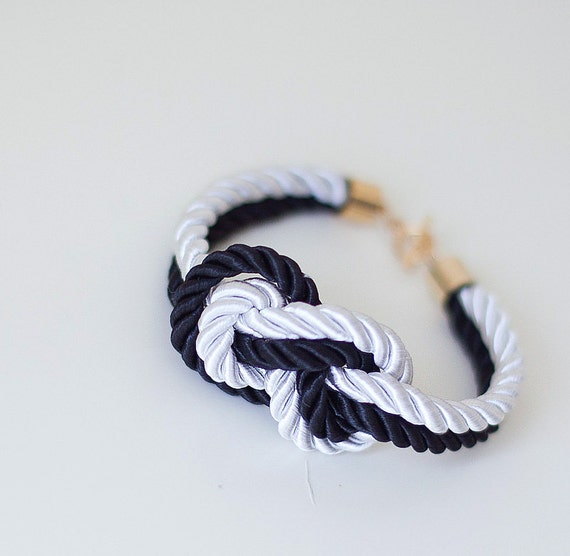 Bridesmaid Wedding Set of 3 Nautical Silk cord White and Black Bracelet with sailor knot by pardes
