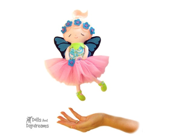 Fairy Sewing Pattern PDF Small Doll Flower Fairies - Removable Butterfly Wings Shoes & Skirt included