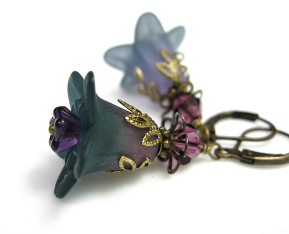 Teal, Amethyst, Lucite, Flower Earrings, Swarovski, Antiqued Brass