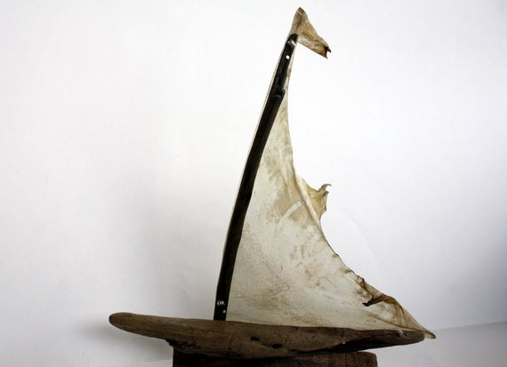 driftwood boat with a sail from genuine goatskin parchment... size 20 x 24 cm