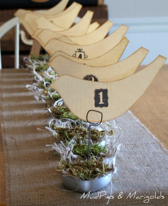 Set of 12 Vintage Style Birds Nest table numbers, Ready to Ship, shabby chic, rustic, farmhouse, woodland