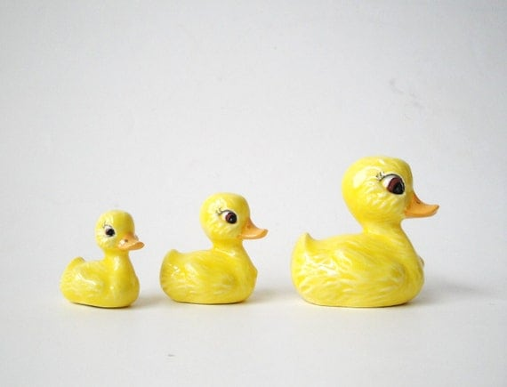 Tiny Yellow Ducks Ceramic Figurines Set of 3