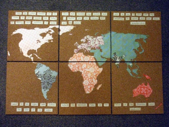 Inkspired musings travel around the world etsy treasury custom handmade cork board map gumiabroncs Image collections