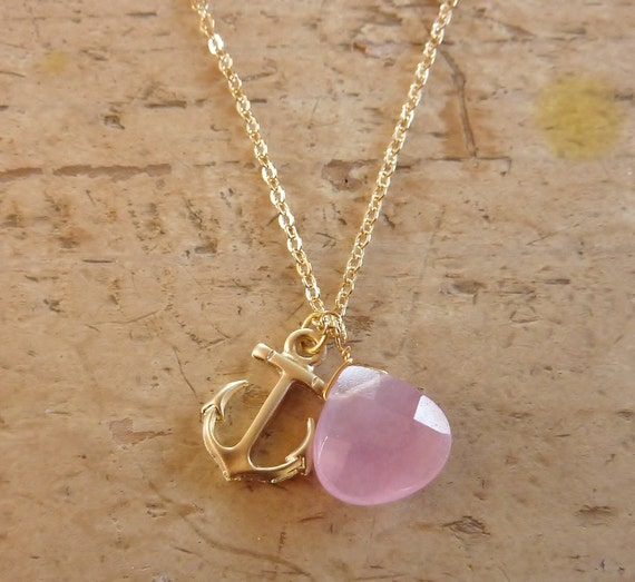 Nautical anchor and pink chalcedony heart briolette necklace -- Delta Gamma Sorority