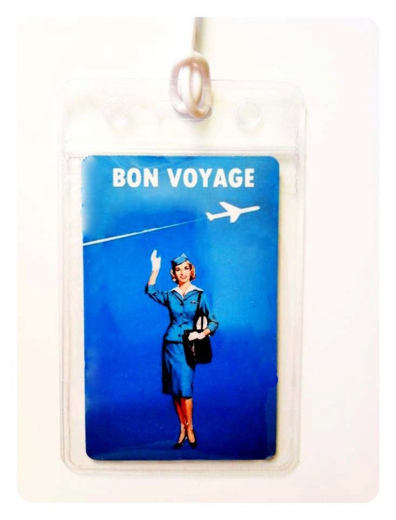 Upcycled Vintage Design Luggage Tag