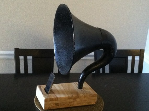 Acoustic  iPhone Speaker Dock Utilizing a Vintage Antique Atwater Kent Gramophone Phonograph Horn -CUSTOM - MADE to ORDER-