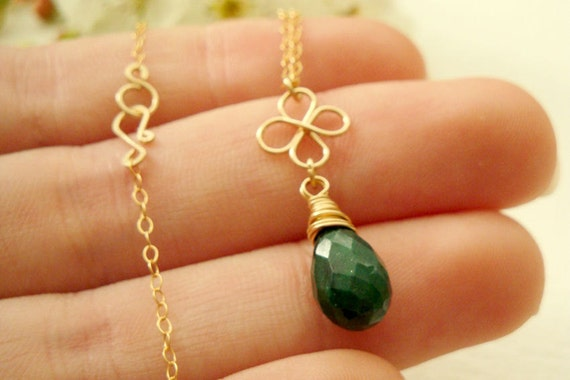 St. Patrick's Day jewelry - Genuine emerald briolette necklace with gold four leaf - 14k gold filled shamrock and green emerald