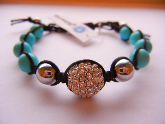 Crystal Pave / Hematite / Turquoise Blue Magnesite Bracelet